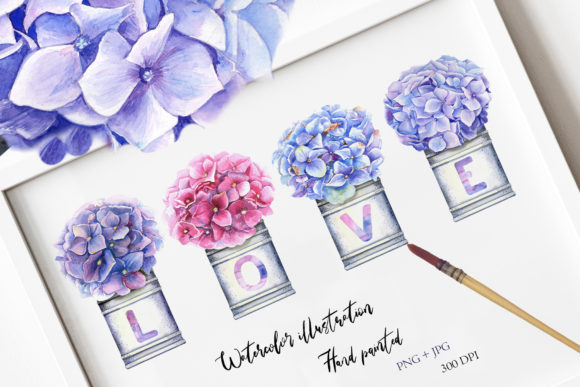 Watercolor Hydrangea Illustration III Graphic Illustrations By evgenia_art_art
