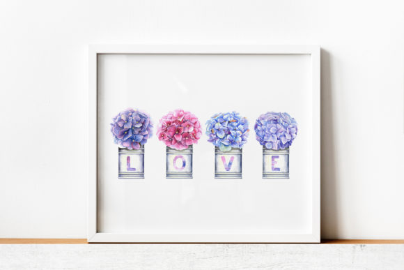 Watercolor Hydrangea Illustration III Graphic Illustrations By evgenia_art_art - Image 2