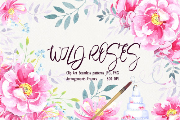 Print on Demand: Watercolor Wild Roses Clip Art Graphic Illustrations By evgenia_art_art - Image 1