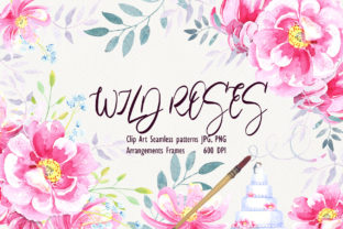 Print on Demand: Watercolor Wild Roses Clip Art Graphic Illustrations By evgenia_art_art