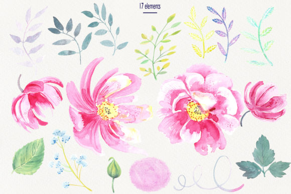 Print on Demand: Watercolor Wild Roses Clip Art Graphic Illustrations By evgenia_art_art - Image 2