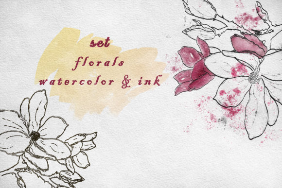 Print on Demand: Watercolor and Ink Flowers  Set Graphic Illustrations By Zolotovaillustrator