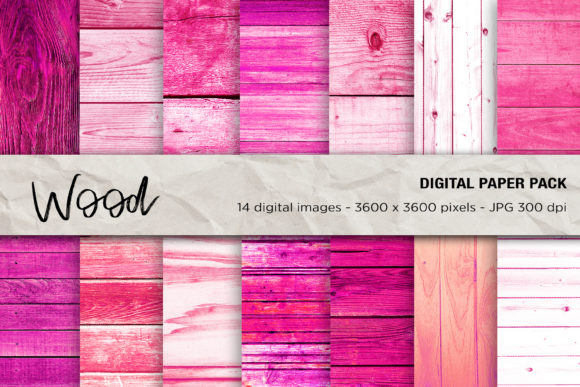 Wood Digital Papers, Pink Wood Textures Graphic Textures By mertakdere19