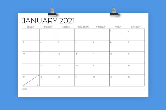 Print on Demand: 11 X 17 Inch Modern 2021 Calendar Graphic Graphic Templates By Running With Foxes