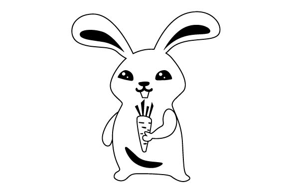 Download Free Cute Bunny Holding Carrot Svg Cut File By Creative Fabrica for Cricut Explore, Silhouette and other cutting machines.