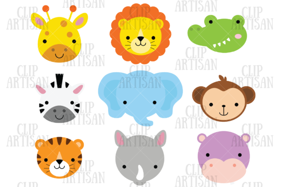 Download Free African Animal Faces Clipart Safari Graphic By Clipartisan for Cricut Explore, Silhouette and other cutting machines.