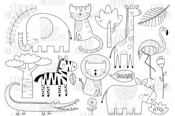African Animals Clipart Safari Animals Graphic Coloring Pages & Books Kids By ClipArtisan - Image 1