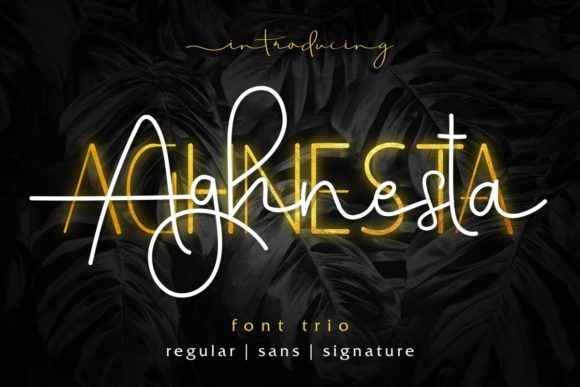 Download Free Aghnesta Trio Font By Edricstudio Creative Fabrica for Cricut Explore, Silhouette and other cutting machines.