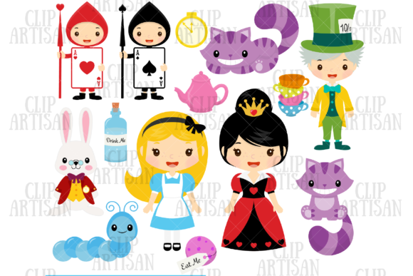 Alice in Wonderland Clipart Graphic Illustrations By ClipArtisan