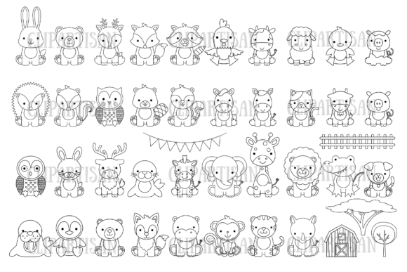 Animal Clipart Bundle African Woodland Graphic Coloring Pages & Books Kids By ClipArtisan - Image 1