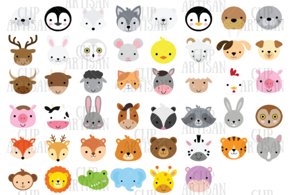 Animal Faces Clipart African Woodland Graphic Illustrations By ClipArtisan