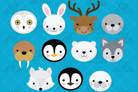 Arctic Animal Faces Clipart Graphic Illustrations By ClipArtisan