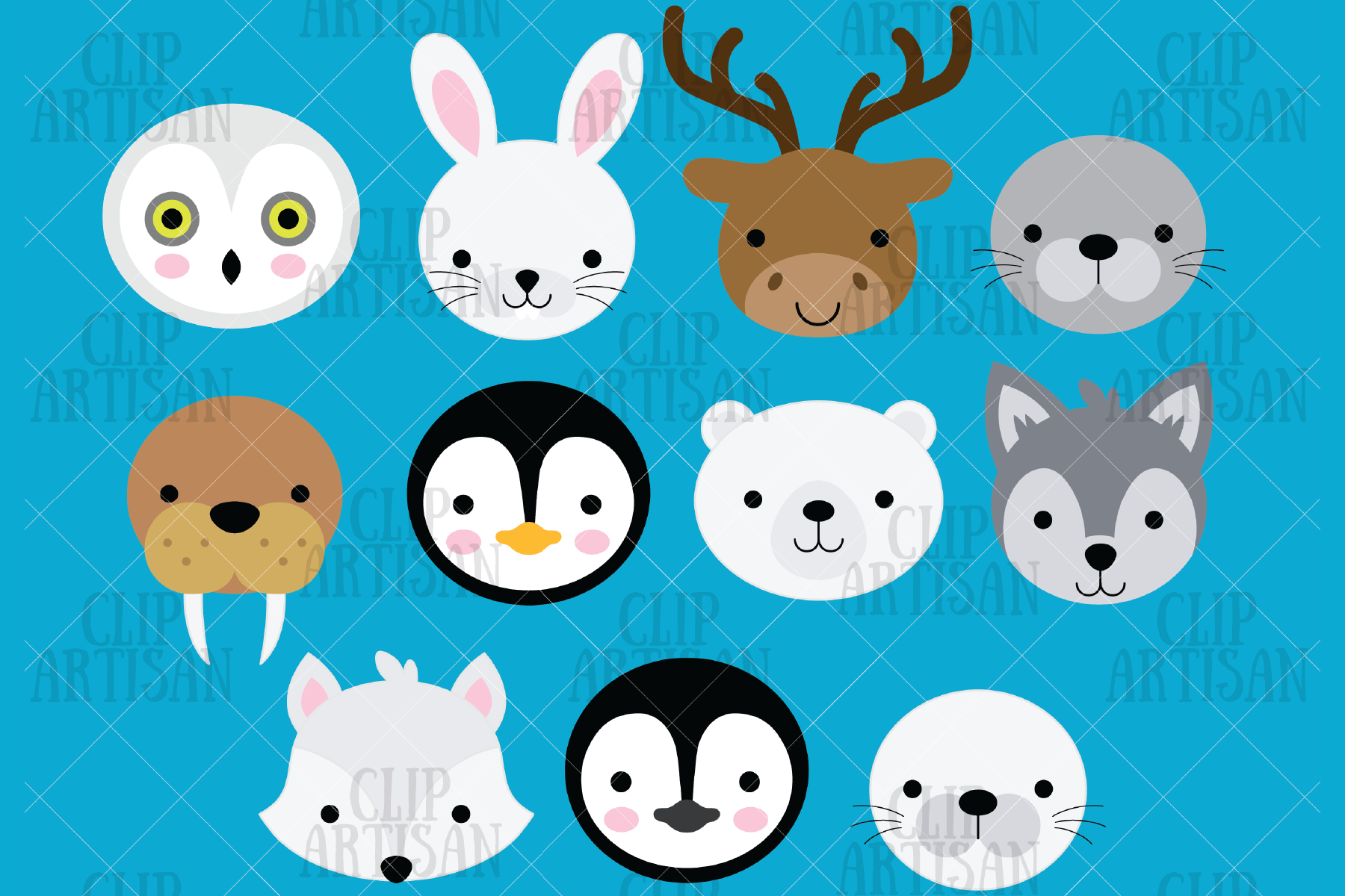 Download Free Arctic Animal Faces Clipart Graphic By Clipartisan Creative for Cricut Explore, Silhouette and other cutting machines.