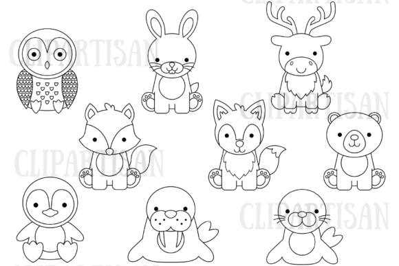 Arctic Animals Clip Art Polar Bear Graphic Coloring Pages & Books Kids By ClipArtisan - Image 1
