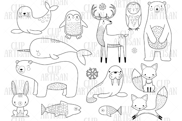Arctic Animals Clipart Digital Stamp Graphic Illustrations By ClipArtisan - Image 1