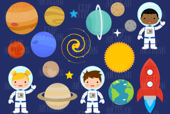 Astronaut Clipart Space Planets Graphic Illustrations By ClipArtisan