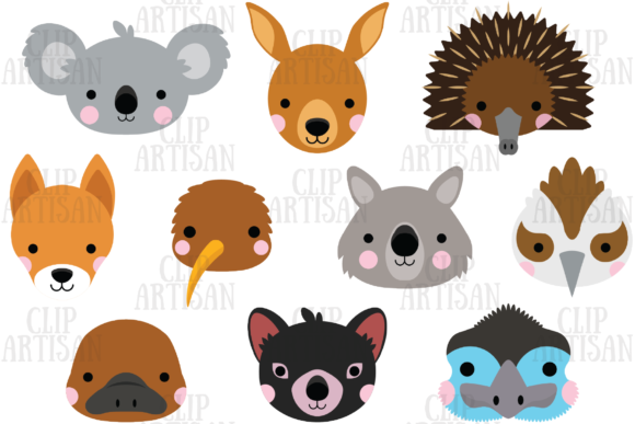 Australian Animal Faces Clipart Graphic Illustrations By ClipArtisan