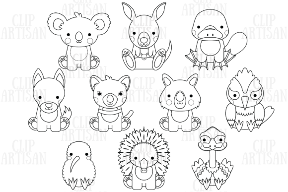Australian Animals Clipart Graphic Coloring Pages & Books Kids By ClipArtisan - Image 1