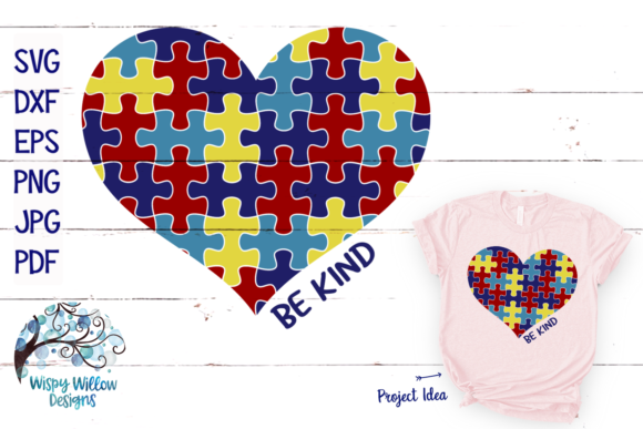 Download Free Autism Puzzle Heart Graphic By Wispywillowdesigns Creative Fabrica for Cricut Explore, Silhouette and other cutting machines.