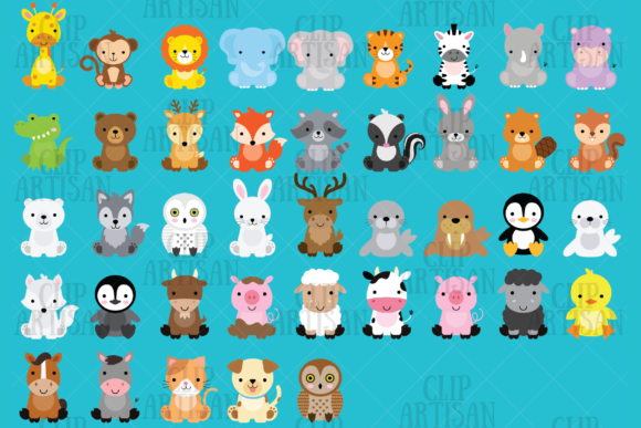 Baby Animal Clipart Bundle Grafik Illustrationen von ClipArtisan