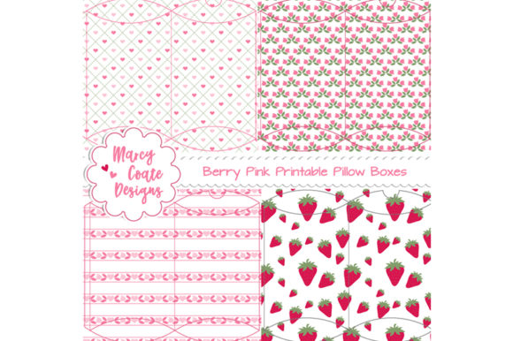 Berry Pink Printable Pillow Box Set Graphic 3D Pillow Box By MarcyCoateDesigns