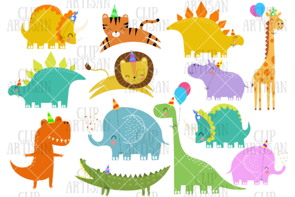 Birthday Party Animals Clipart Dinosaur Graphic Illustrations By ClipArtisan