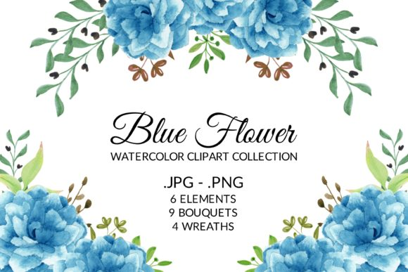 Print on Demand: Blue Flower Watercolor Clipart Set Graphic Illustrations By elsabenaa