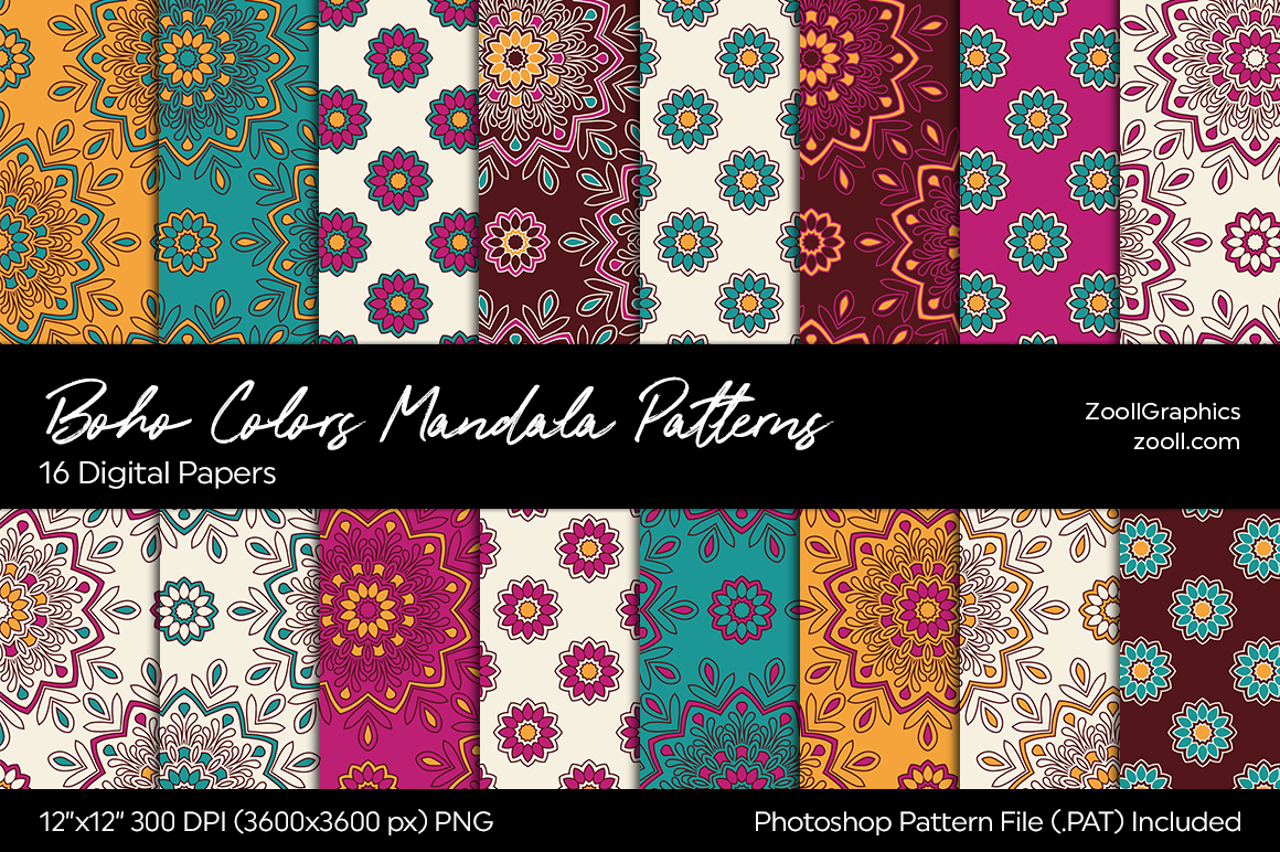Download Free Boho Colors Mandala Digital Papers Graphic By Zoollgraphics for Cricut Explore, Silhouette and other cutting machines.