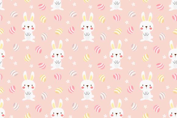 Download Free Cute White Bunny And Easter Graphic By Thanaporn Pinp Creative for Cricut Explore, Silhouette and other cutting machines.