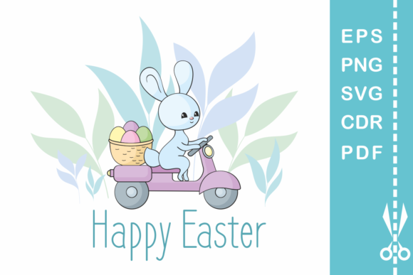 Print on Demand: Easter Design with Bunny on a Moped Graphic Crafts By Olga Belova