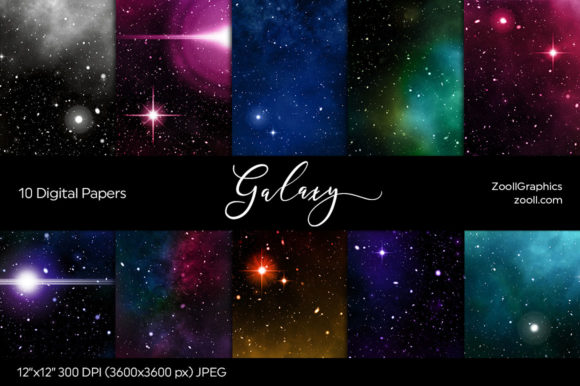 Galaxy Digital Papers Gráfico Texturas Por ZoollGraphics