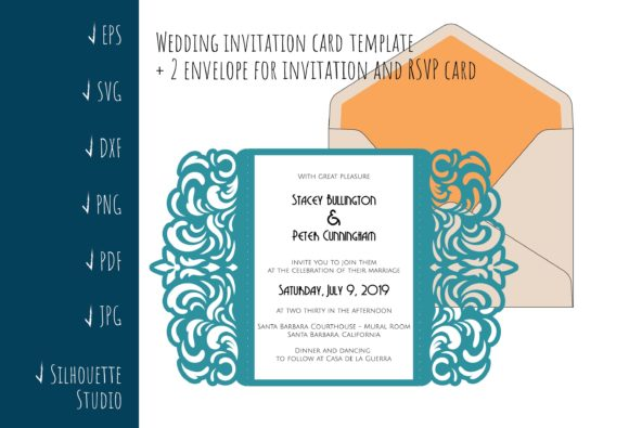 Download Free Gate Fold A7 Wedding Invitation Graphic By Sadovichdesign for Cricut Explore, Silhouette and other cutting machines.