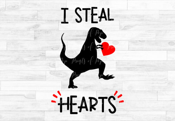 I Steal Hearts Dinosaur Graphic Item