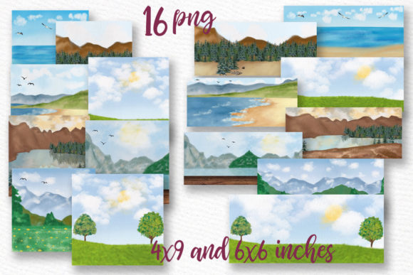 Lanscapes Clipart Mug Templates Grafik Illustrationen von LeCoqDesign