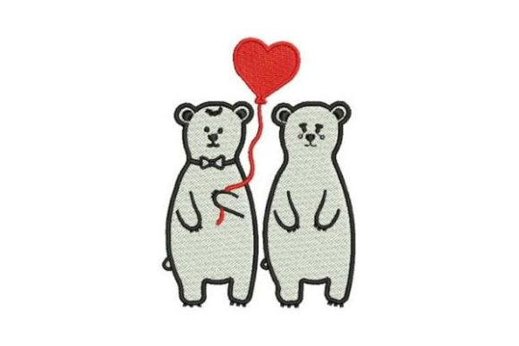 Lover Polar Bears Valentine's Day Embroidery Design By Embroidery Designs - Image 1