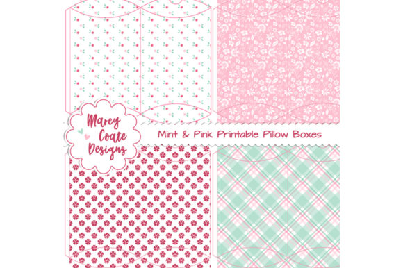 Mint & Pink Printable Pillow Box Set Graphic 3D Pillow Box By MarcyCoateDesigns