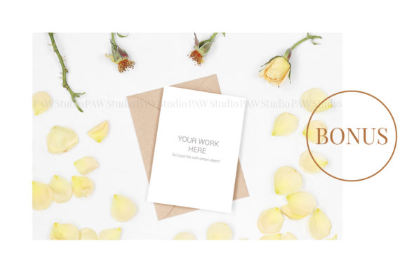 Mockup Invitation Card with White Ribbon Graphic Preview