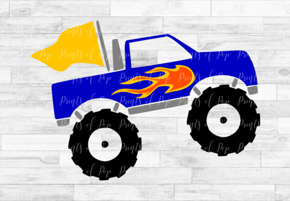 Monster Truck With Flames Graphic By Printsofpop Creative Fabrica