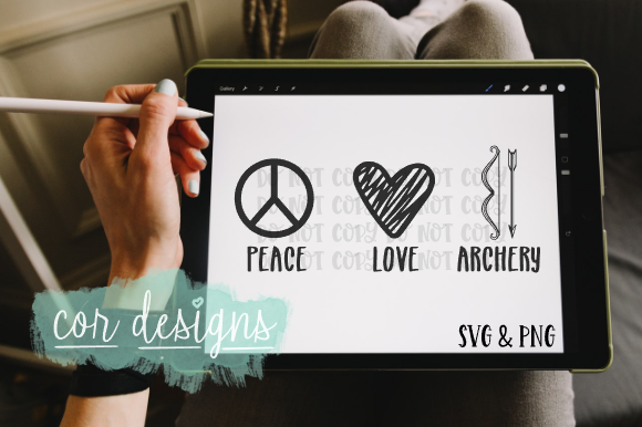 Download Free Peace Love Archery Graphic By Designscor Creative Fabrica for Cricut Explore, Silhouette and other cutting machines.