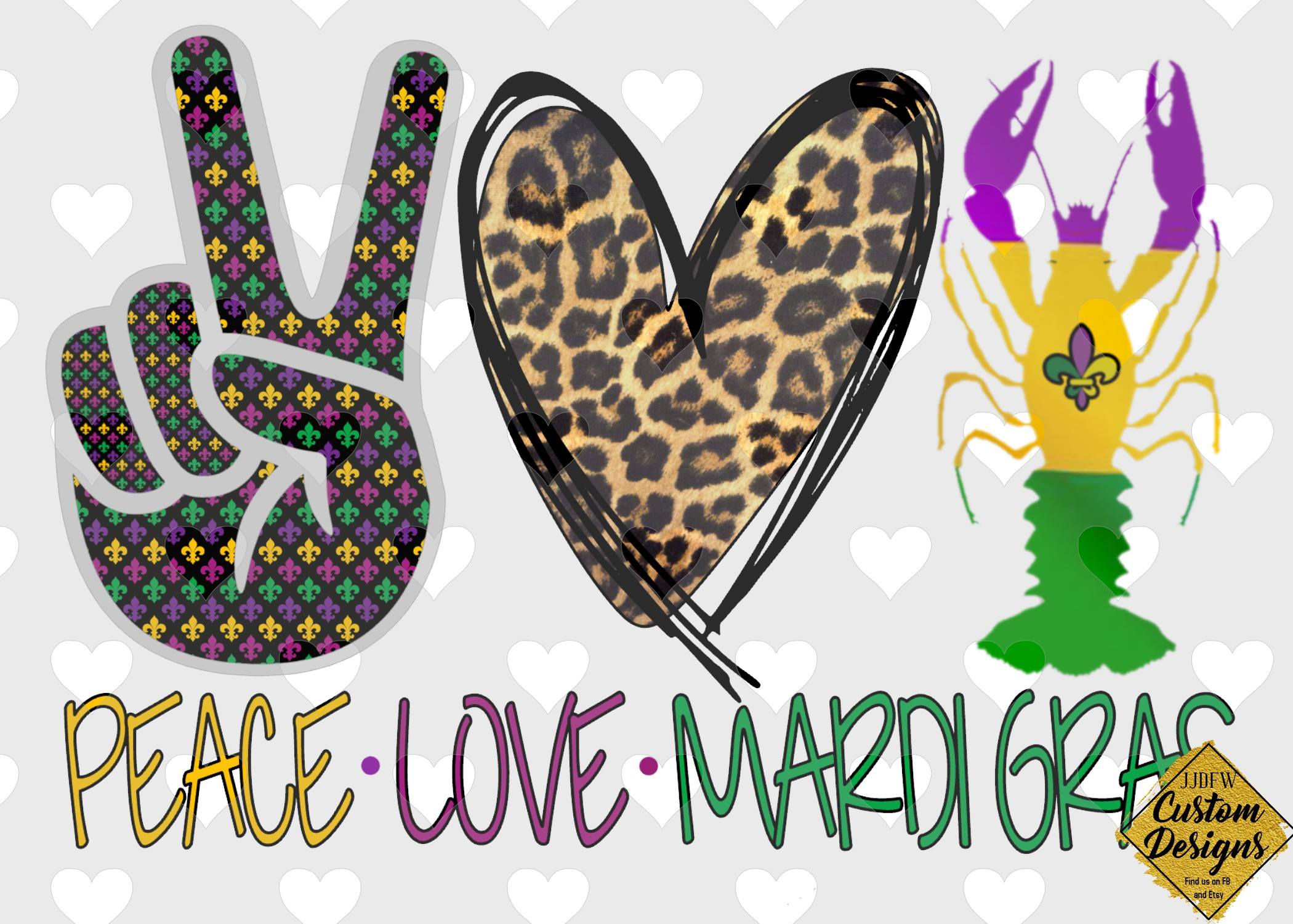 Download Free Peace Love Mardi Gras Graphic By Regan Wagh Creative Fabrica for Cricut Explore, Silhouette and other cutting machines.