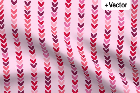 Pink Hearts Knit Rows Pattern Graphic By Dana Du Design