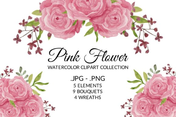 Print on Demand: Pink Rose Flower Watercolor Clipart Set Graphic Illustrations By elsabenaa
