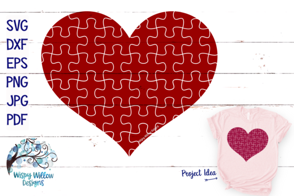Download Free Puzzle Piece Heart Autism Graphic By Wispywillowdesigns for Cricut Explore, Silhouette and other cutting machines.