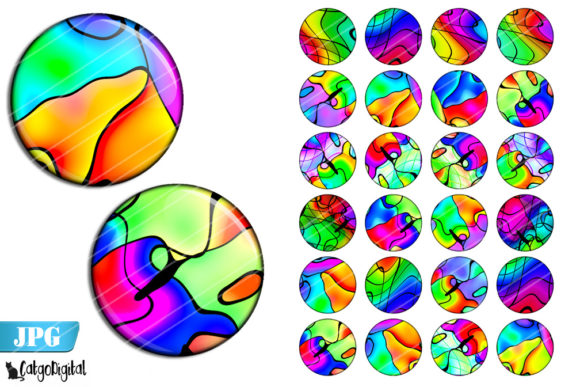 Print on Demand: Rainbow Seamless Abstract Circles Graphic Crafts By CatgoDigital