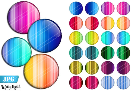 Print on Demand: Rainbow Stripes Bottle Cap Images Graphic Crafts By CatgoDigital - Image 1