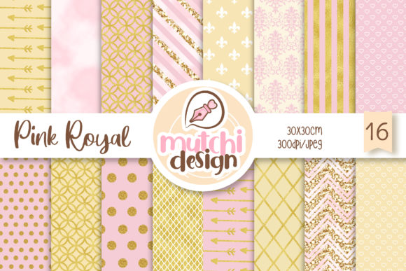 Print on Demand: Royal Pink Digital Papers Graphic Backgrounds By Mutchi Design