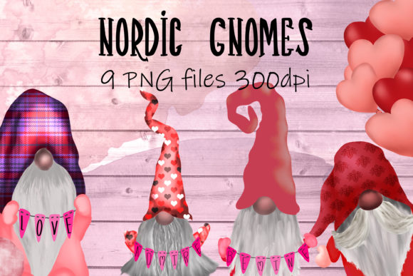 Print on Demand: Scandinavian Tomte Gnomes Valentine Graphic Illustrations By CC Paper Studio