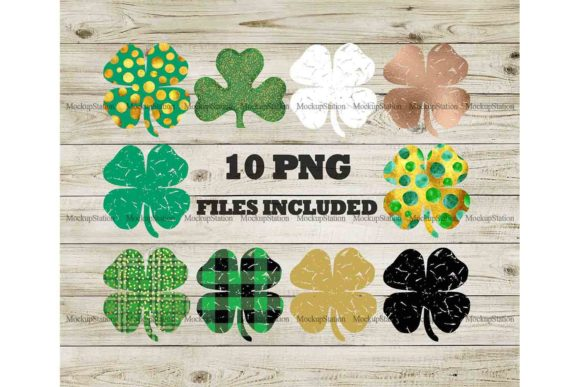 Print on Demand: Shamrock Bundle Clover Gráfico Crafts Por Mockup Station