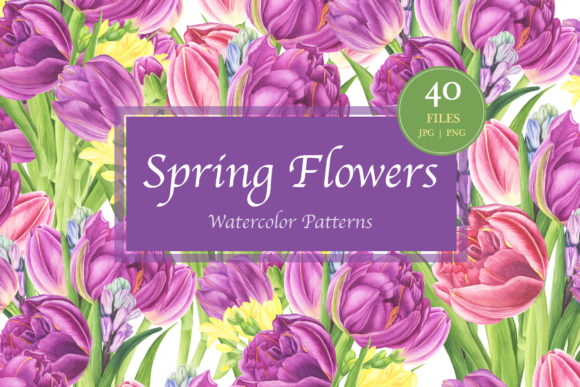 Spring Flowers Watercolor Patterns Graphic By Tpushnaya