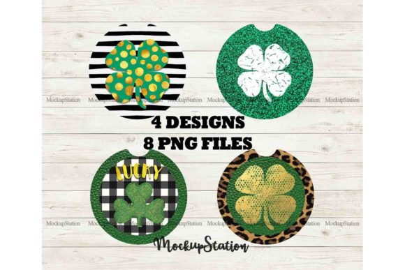 Print on Demand: St Patrick's Shamrock Car Coaster Bundle Graphic Print Templates By Mockup Station